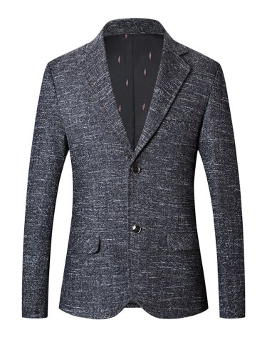 Men's Blazer Collar Long Sleeve Pocket Casual Plus Size Slim Notched Single Breasted
