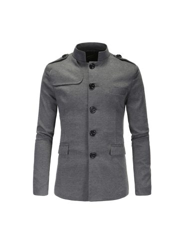 Style Men's Suit Stand Collar Single Breasted Patchwork Solid Casual