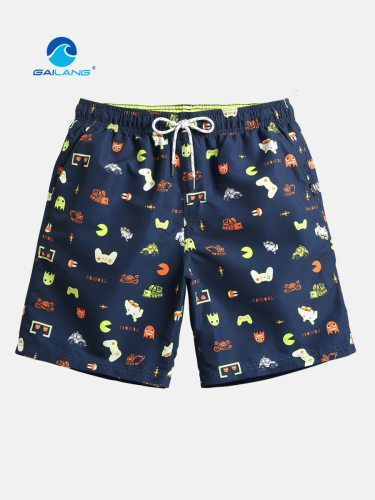 GAILANG Men's Beach Cartoon Quick-Dry Mid Waist Loose Breathable Drawstring Print Shorts