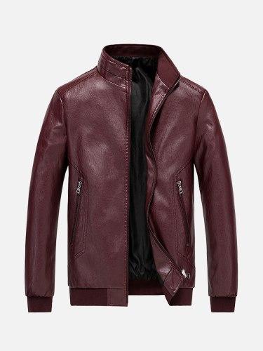 Men's Leather Jacket Pocket Fashion Geometric Long Sleeve Casual Men's simple classic Lapel zipper leather jacket Zipper Holiday