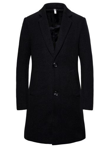 Man's Wool Blend Coat Turn Down Collar Word Print Notched Coats Slim Casual Long Sleeve