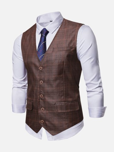 Men's Vest Jacket Single Breasted Plaid V Neck Check Pattern Slim Button Casual