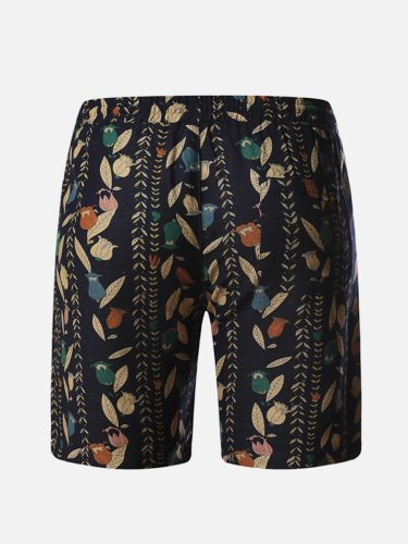 Men's Shorts Pocket Patchwork Fashion Short Mid Waisted Drawstring Waist Print
