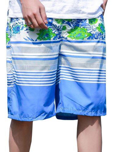 Men's Beach Plus Size Fashion Simple Floral Printing Shorts Breathable Elastic Waist Striped Regular