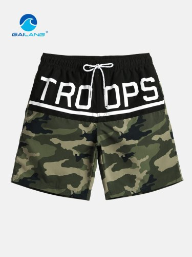 Men's Beach Camouflage Colorblock Letter Drawstring Mid Waist Quick Dry Print Shorts