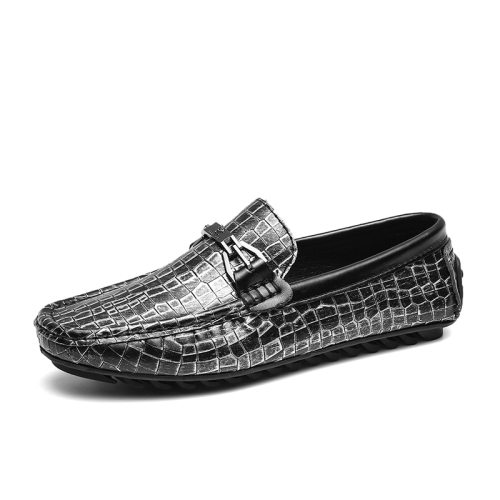 Zaitun Men's Loafers Crocodile Pattern Soft Sole Slip On