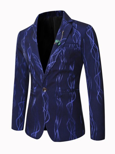 Men's Blazer Fashion Collar Long Sleeve Blazers Slim Notched Single Breasted