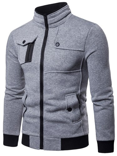 Men's Jacket Pocketed Casual Solid Stand Collar Long Sleeve