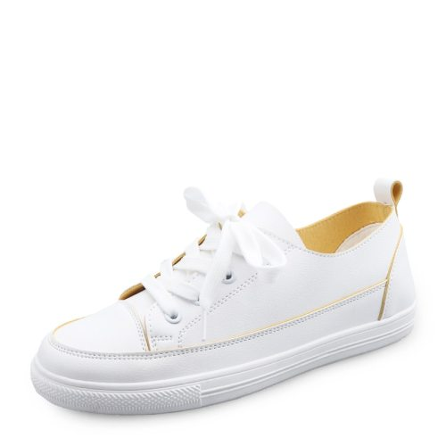 Women's Canvas Shoes Round Toe Flat PU Top Fashion Youth14-30Age Flat0-3cm Rubber Sole 25 cm Strappy Sports & Leisure Lacing Light