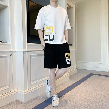 Men's 2 Pieces Shorts Set Short Sleeve T Shirt Loose Short Pants Casual