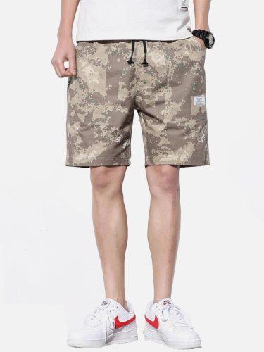 Men's Casual Shorts Fashion Pocket Mid Waist Drawstring Mid Waisted Camouflage