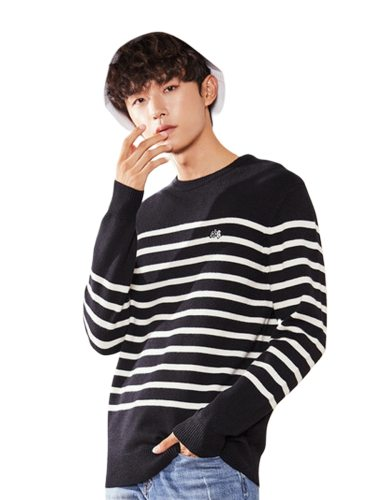 Tonlion Men's Sweater Detail Loose Long Sleeve Crew Neck Striped Casual