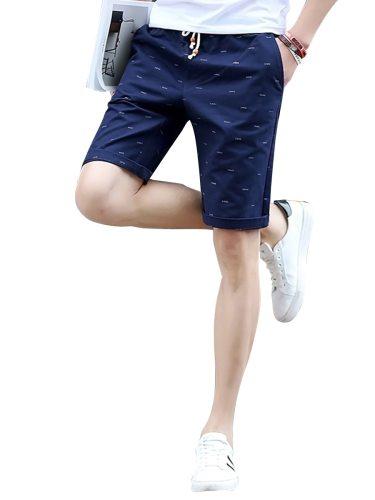 Men's Casual Shorts Fashion Casual Loose Print Drawstring Waist Mid Waisted Slim