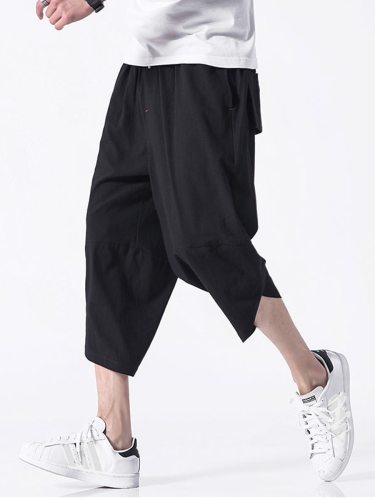 Men's Pants Fashion Solid Color Pocket Mid Waisted Loose Casual Plus Size Cropped Drawstring Waist Holiday Straight