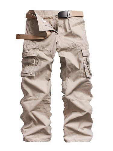 Men's Pants All Match Comfy Solid Color Breathable Cargo Full Length Straight Plus Size Zipper Mid Waisted Casual