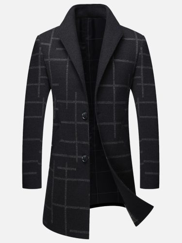 Men's Wool Blend Coat Single Breasted Plaid Pocket Long Sleeve Checkered Beading Going Out Regular Turn Down Collar Coats Casual