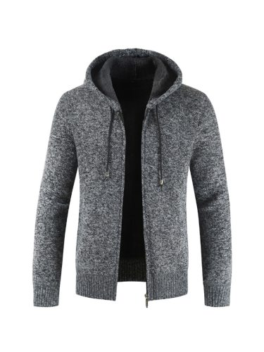 Men's Cardigan Solid Color Casual Thicken Zipper Hooded Long Sleeve