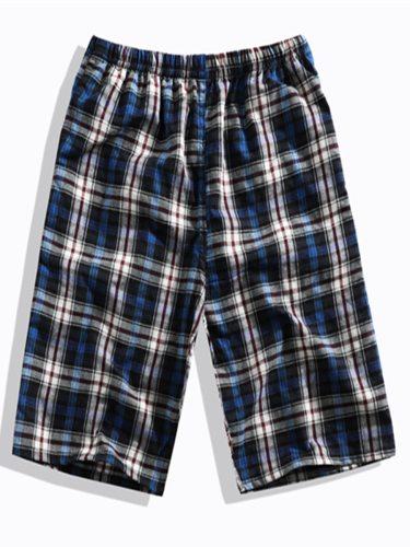 Men's Beach Casual Short Breathable Elastic Waist Low Waist Plaid Shorts