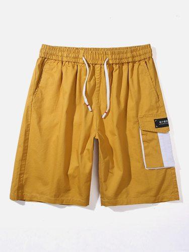 Men's Cargo Shorts Pocket Drawstring Short Colorblock Mid Waisted Loose Drawstring Waist Going Out