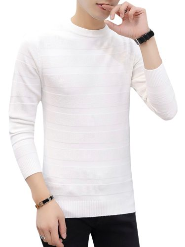 Men's Sweater Solid Color Jacquard Long Sleeve Striped School Slim Casual Crew Neck