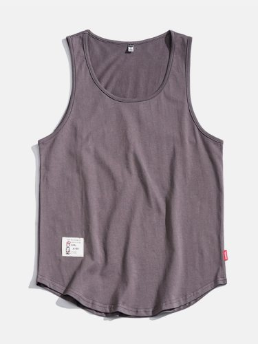 Men's Tank Solid Color Simple Indoor Casual Plus Size Crew Neck