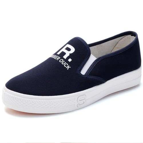Women's Loafers Fashion Thick Sole Anti-Skidding Casual Youth14-30Age Canvas 3 cm Slip-On Damping Sweet Letter Rubber Sole Holiday Flat0-3cm