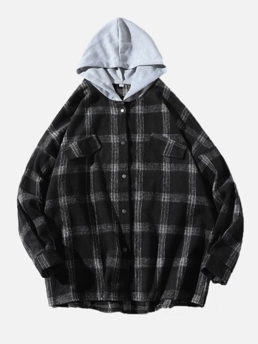 Men's Jacket Plaid Long Sleeve Hooded Patchwork Loose Casual