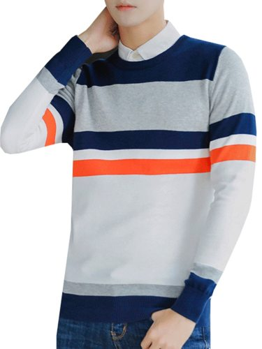Men's Sweater Color Block Patchwork Stripe Striped Crew Neck Slim with other clothing is also very appropriateThis product is a sweater and does not