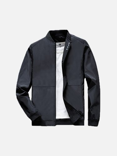Men's Jacket Fashion Solid Long Sleeve Patchwork Stand Collar Casual Zipper