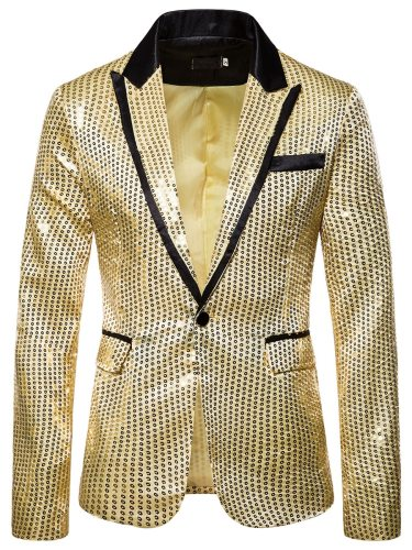 Men's Blazer Sequins Button Pocket Long Sleeve Notched Single Breasted Colorblock