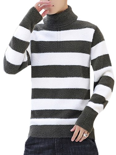 Men's Sweater Color Block Casual Warm Striped Fashion Turtle Neck Slim The necklace is not included Plus Size Long Sleeve