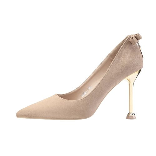 Zaitun Women's High Heel Pumps Khaki Metal Bow Decoration Solid Color Rubber Sole Goblet Heel Wedding Top Fashion Pointed toe Others 95 cm Suede