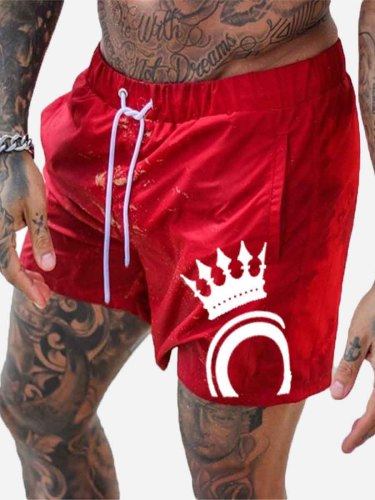 Men's Beach Loose Solid Color Short Mid Waist Breathable Regular Shorts Print Button