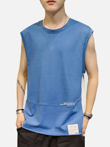 Men's Tank Letter Print Sleeveless Going Out Crew Neck Casual