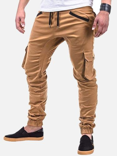 Men's Pants Solid Color Wearable Pocket Decoration Sports Elastic Waist Mid Waisted Ankle-Tied Casual