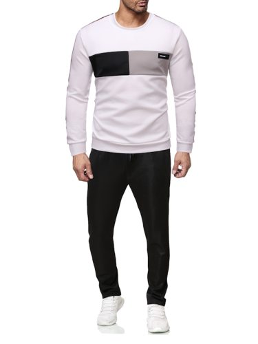 Men's 2 Pcs Set Sweatshirt Solid Color Cropped Pants Daily Casual Crew Neck Long Sleeve