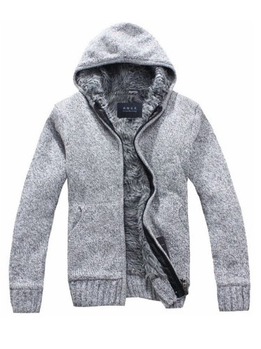 Men's Cardigan Color Brushed Warm School Fashion Solid Long Sleeve Zipper Hooded
