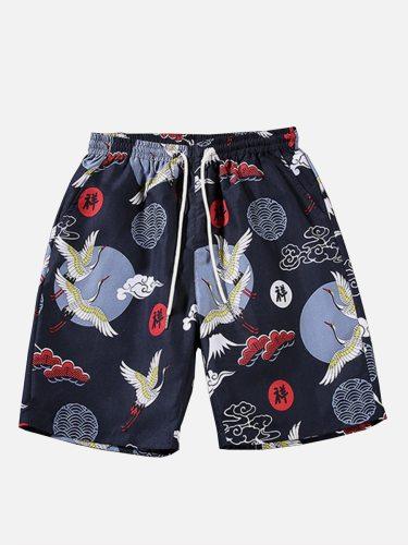 Men's Beach Elastic Waist Casual Short Shorts Plus Size Print Breathable Mid Waist Drawstring