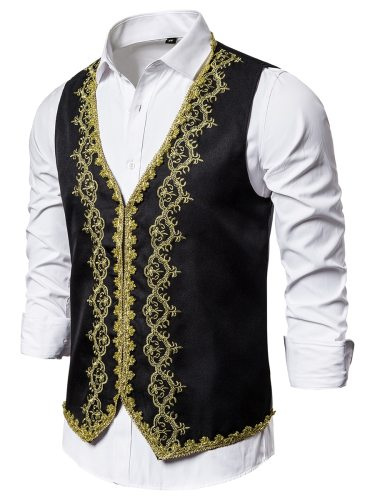 Men's Vest Fashion Single Breasted Slim Embroidery Colorblock Formal V Neck Party