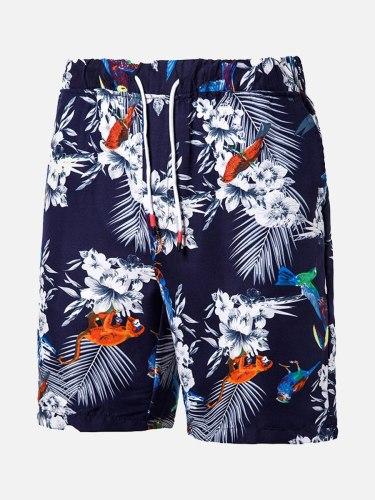 Men's Beach Drawstring Casual Short Loose Mid Waist Print Elastic Waist Shorts