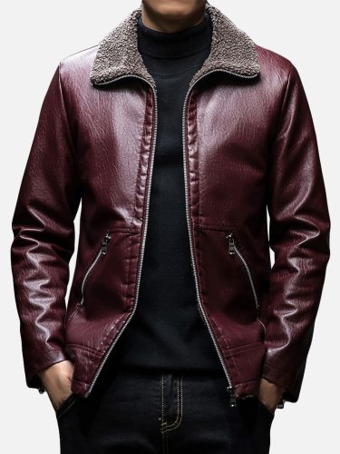 Men's Leather Jacket Solid Color Plus Size Long Sleeve Going Out Casual Turn Down Collar Coats Zipper Thicken