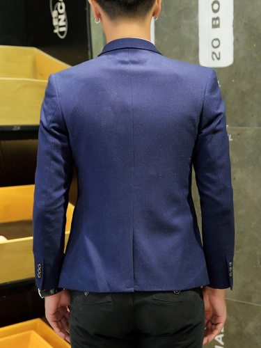 Men's Blazer Long Sleeve Patchwork Pocket Single Button Notched School Fashion