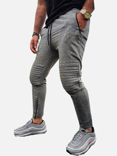 Men's Casual Pants Solid Color Sport Simple Full Length Going Out Slim Plus Size Drawstring Waist Fashion