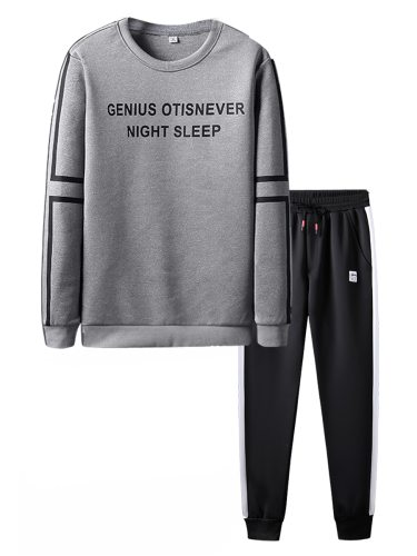 Men's 2Pcs Pants Set Slim Sweatshirt Full Length Trousers Long Sleeve Print Casual Crew Neck Skinny