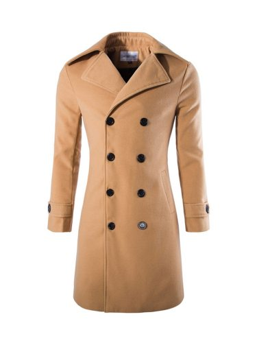 Men's Coat Long High Quality Fashion Fur Long Sleeve Solid Turn Down Collar