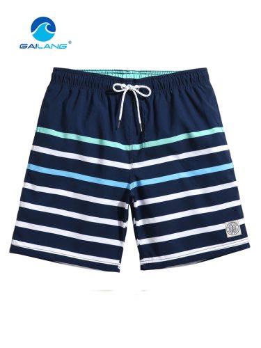 GAILANG Men's Beach Color Block Striped Quick-Dry Mid Waist Colorblock Shorts Drawstring Loose Breathable