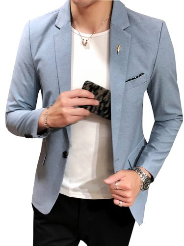 Men's Blazer Long Sleeve Collar Solid Color Notched Blazers Work Slim Button Single Button Plus Size