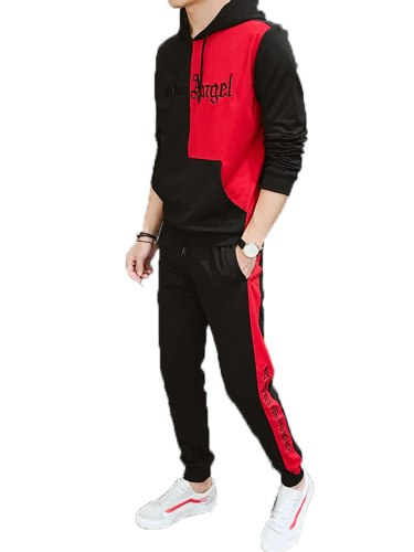 Men's 2Pcs Sets Color Block Hoodie Pocket Sport Pants Long Sleeve Casual