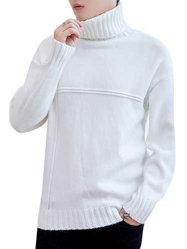 Men's Sweater Solid Color Slim Long Sleeve Going Out Casual Turtle Neck