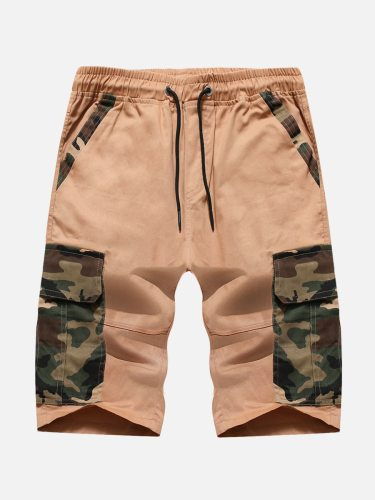 Men's Casual Shorts Clock Block Casual Short Mid Waisted Date Camouflage Drawstring Waist Loose